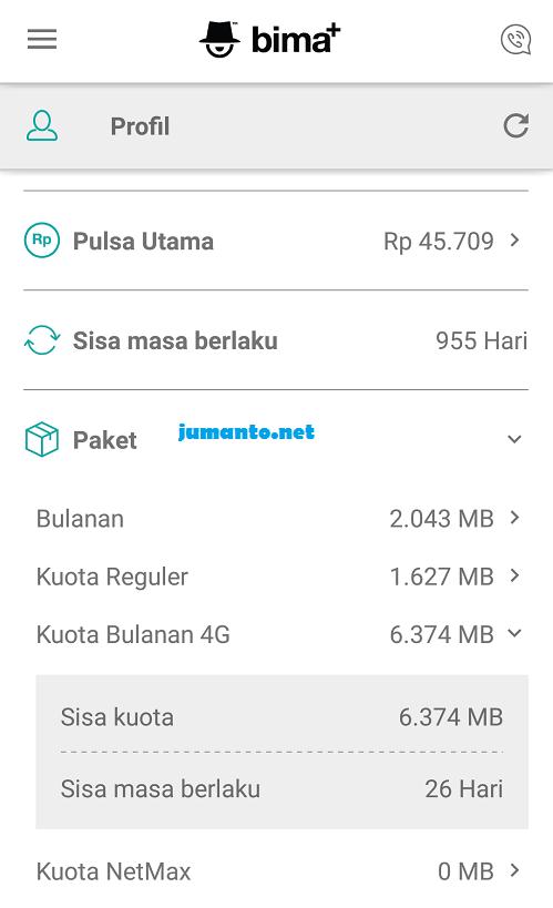 cara cek kuota 4G 3