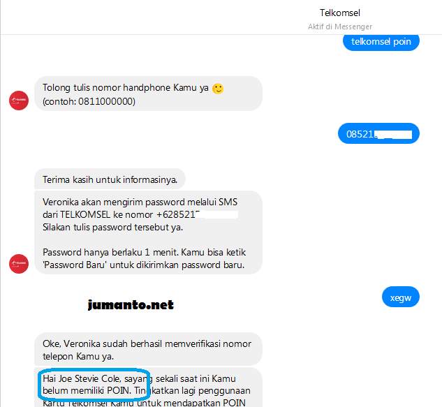 cara cek telkomsel poin via facebook messanger